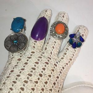 5  rings new boho fun fashion bling  lot